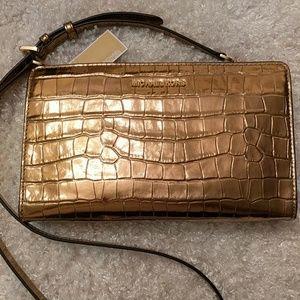 Michael Kors Gold Croc Emboss Crossbody Bag